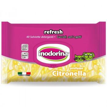 Salviette per cani e gatti detergenti con Citronella - Inodorina Refresh
