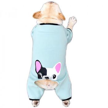 """Tuta per cani """"Bulldog"""", colore azzurro - Cheepet"""