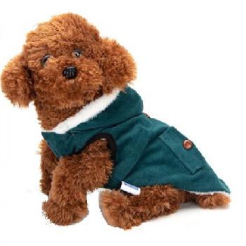Cappotto per cani in pile a coste, colore smeraldo - Nobleza