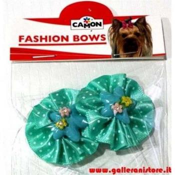 Fiocchetti grandi c/Elastico verde pois per acconciature cani o gatti - CAMON