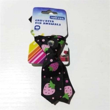 Mini Cravattina Nero fantasia fragola per cani - Nobleza