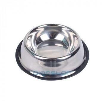 Ciotola acciao con gomma antiscivolo Silver
