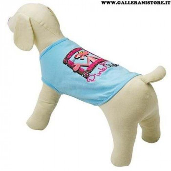 T-shirt smanicata Pink Panther Azzurra per cani - La Pantera Rosa