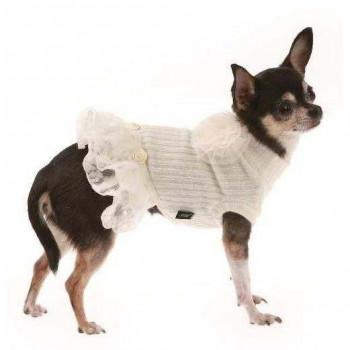 Abito lana/balze bianco applicazione rose per cani - Trilly tutti Brilli