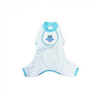 Pigiama Gufetto Blue ciniglia per cani - Pooch Outfitters Peppermint