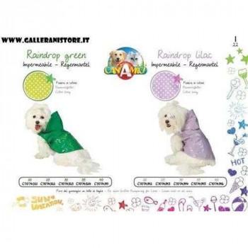 Impermeabile Raindrop Lilla Verde per cani - CaniAmici